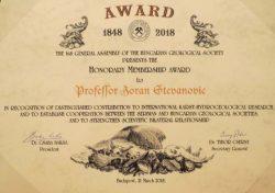 Зоран Стевановић – Почасни члан Мађарског геолошког друштва
